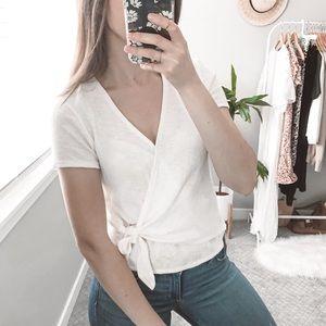 MADEWELL NWT wrap short sleeve shirt v neck